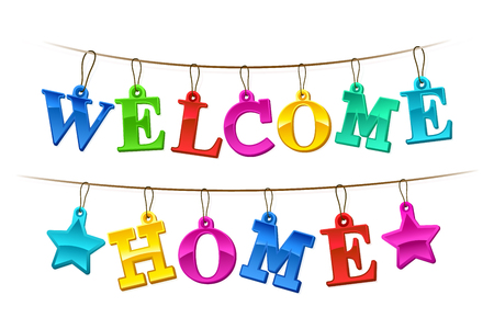 Colorful Welcome Home banner with letters design as hanging tags on a string with two stars for a festive homecoming celebration illustration on white