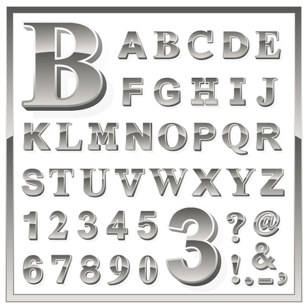 upper case: Complete upper case set of greyscale metallic numbers and alphabet letters with additional punctuation, ampersand, exclamation and question marks in a square frame