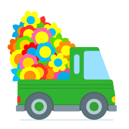 Cute green cartoon car making a flower delivery with the back piled high with colorful summer flowers illustration isolated on white Vectores