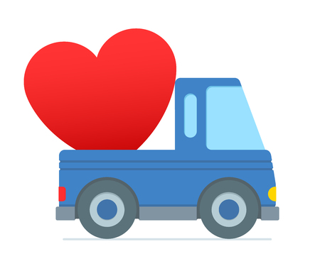 over sized: Cartoon truck colored blue zooms along delivering over sized heart in the trunk against a white background illustration