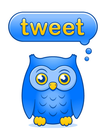 tweet: Cute little yellow and blue cartoon owl icon with a Tweet speech bubble above its head isolated on white - thinking about tweeting