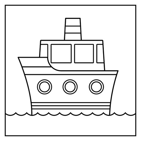 cruising: Outline cartoon ship design cruising on water suitable for coloring in for kids, black and white illustration Illustration