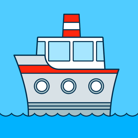 Cute cartoon ship cruising on water with three portholes and funnel, colored illustration