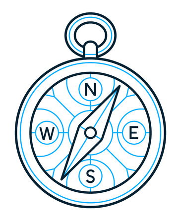 magnetic field: Circular compass icon outline drawing using the earths magnetic field for navigation on land and sea in blue and black for nautical or marine themes, vector illustration
