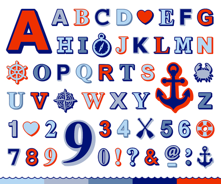 font design: Complete marine alphabet and number set in upper case design with red and blue font and a ships wheel, anchor, crab, compass, preserver and heart nautical icons,  illustration