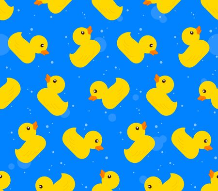 rubber ducks: Seamless vector background pattern of yellow rubber ducks on a textured blue background arranged in rows of alternating icons facing up and down in square format for print, textile and wallpaper