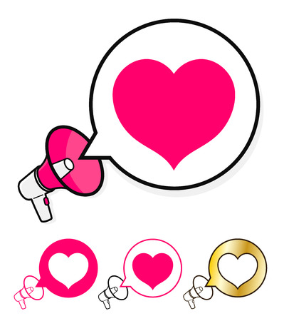 heart clipart: Megaphone with speech bubble and heart icon in a concept of announcing love, romance, wedding, anniversary or Valentines for use as a vector design element isolated on white, vector illustration