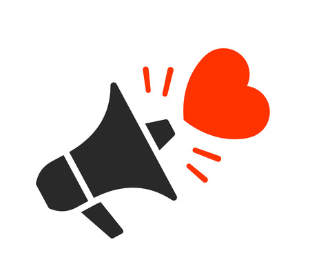 Isolated black megaphone with red heart symbol moving outward from it over white background, vector illustration Illustration