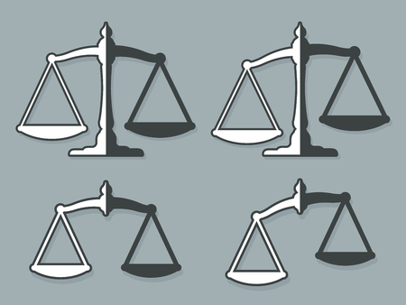 lawful: Vector design elements of weight scales set representing justice against gray background