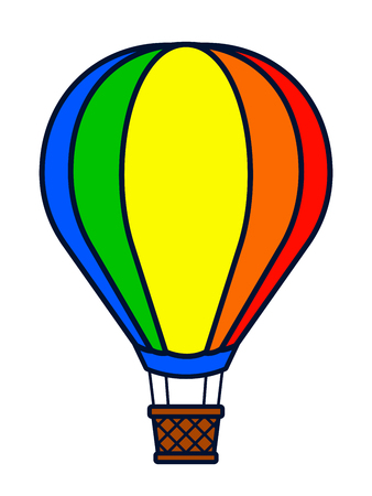Vector illustration of colorful hot air balloon cartoon over white background