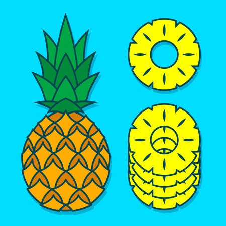 nourishment: Vector cartoon of pineapple and its slices stacked over blue background