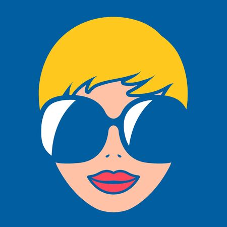 Vector illustration of attractive blond woman wearing sunglasses over blue background, flat design Illustration