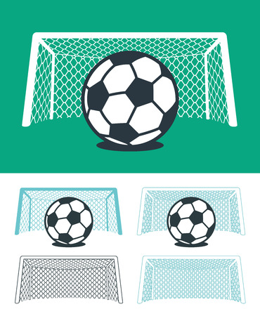 hues: Set of soccer balls with nets and goal posts in black , green and white color hues in three different combinations, vector sporting illustration for championship league or World Cup themes