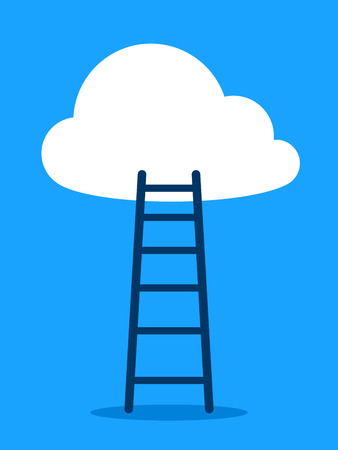 achieving: Vector illustration of ladder leading to cloud against blue sky background depicting goal or vision achieving Illustration