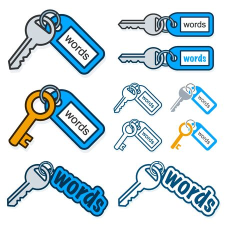 keys isolated: Set of keys with the text - Words - on their tags conceptual of keywording and SEO with different shaped key and tag combinations isolated on white, vector illustration