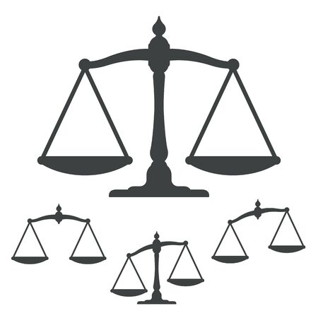 lawful: Vector illustration of silhouette weight scales collection representing justice isolated on white