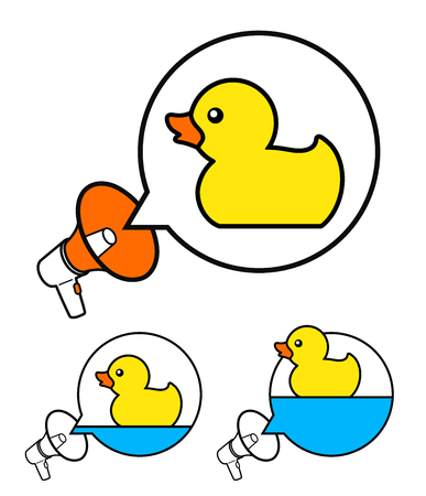Cute yellow rubber ducky symbols inside speech balloons with megaphone over white, vector illustration Illustration
