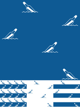 Set of Message In A Bottle seamless background patterns in nautical blue and white with a repeat icon of a floating bottle in four assorted variations, vector illustration