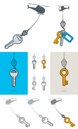 Collection of simple grey silhouette helicopters lifting an assortment of different keys on a hook over white, blue and grey backgrounds in a conceptual vector illustration Illustration