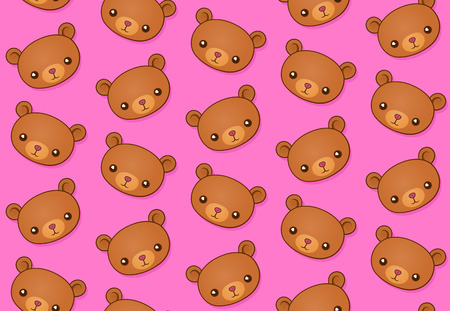 carnivora: Seamless vector pattern of cute teddy bears over pink background