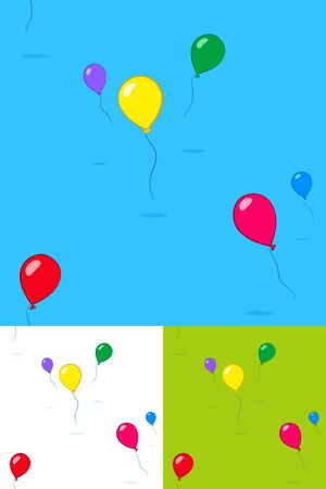wafting: Colorful kids party balloons floating in the sky in three different color variations with copy space for your text, square format seamless pattern vector illustration