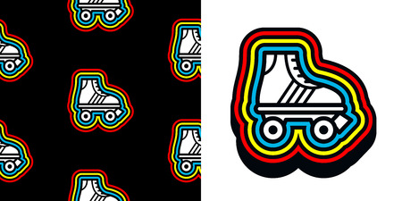 skates: Eighties roller skate icon with colorful frame and a matching seamless background pattern on black for print and textile, vector illustration