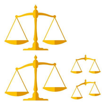 lawful: Golden weight scales vector design elements set isolated on white Illustration