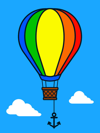 midair: Vector illustration of colorful hot air balloon and anchor in mid-air against blue sky and white clouds Illustration