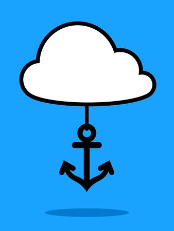 data transmission: Vector illustration of marine anchor hanging from cloud against blue background Illustration