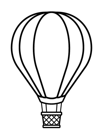 Vector illustration of silhouette hot air balloon over white background