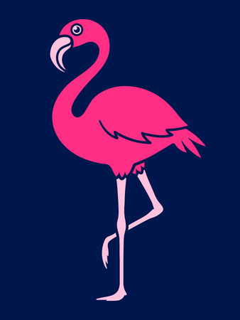 Vector image of flamingo over blue background