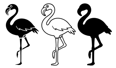 Vector illustrations set of silhouette flamingo isolated on white