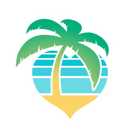 Heart shaped tropical beach and palm tree icon conceptual of travel and summer vacations isolated on white, vector illustration