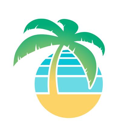 turismo: palmera colorido y el icono de playa tropical para un concepto de turismo y viajes, aislado en blanco, ilustración vectorial Vectores