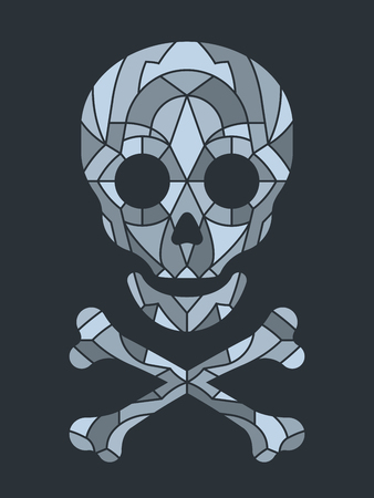 Mosaic tile or jigsaw puzzle skull in grayscale over black background, vector illustration