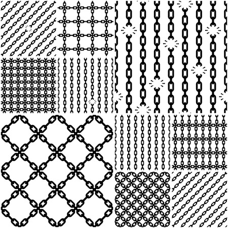 prison break: Bundle of seamless chain patterns with links attached and broken. Vector illustration.