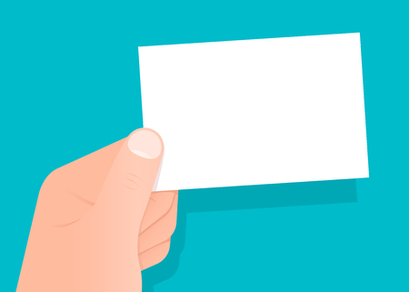 credentials: Hand holding a blank white business card with copy space for your trade, profession, brand, contact details and credentials over blue, vector illustration