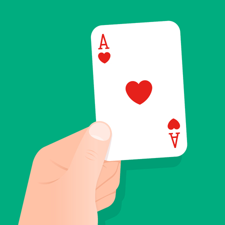gambling game: Hand holding up a playing card ace of hearts over a green background conceptual of gambling, poker, luck, winner, bet, casino or recreational game of cards or bridge, vector illustration Illustration