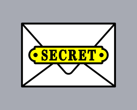 top secret: Top secret document icon in envelope. Vector illustration