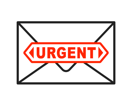 urgently: Urgent envelope icon with important stamped letter. Vector illustration.