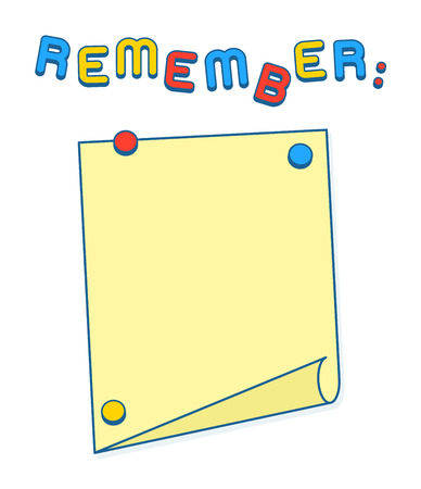 magnets: Reminder or Agenda List on whiteboard or fridge with magnets, copy space to add your own text. Vector Illustration