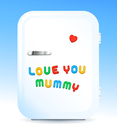magnets: Modern fridge with colored letter magnets sign LOVE YOU MUMMY and red heart-shaped magnet, for mothers day, vector illustration Illustration