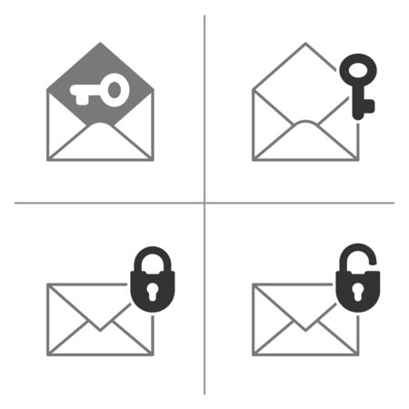 encoded: Security mail icon collection with envelope, padlock and key. Vector illustration.