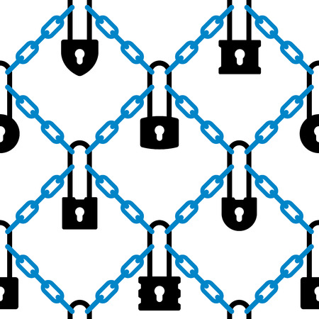 Seamless padlock and chain network security pattern. Vector illustration