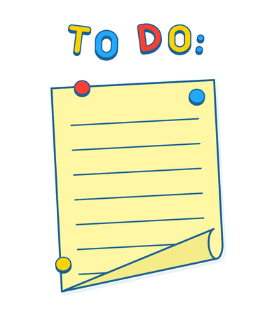 paper art: To Do List on whiteboard or fridge with magnets, copy space to add your own text. Vector Illustration Illustration