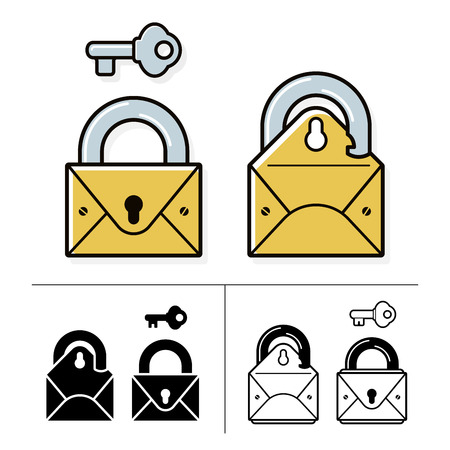 security lock: Security lock and mail icon collection with envelope, padlock and key. Vector illustration.