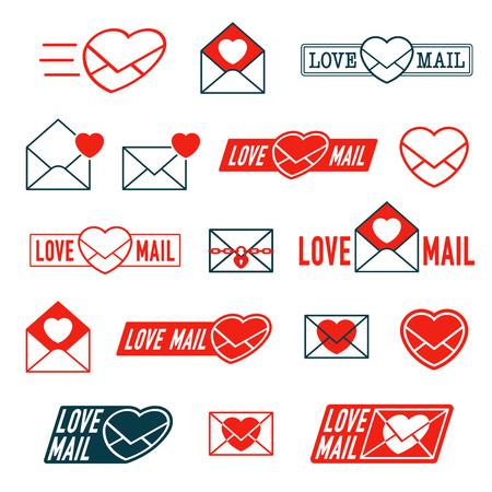 collection red: Large collection of Love, Mail and Envelope Heart icons for romantic Valentines, dating or anniversary correspondence in colorful bright red in various designs, vector illustration Illustration
