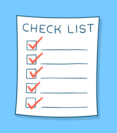 cartoon tick: Cartoon checklist with red check marks and blank copy space on lines over a blue background, vector illustration