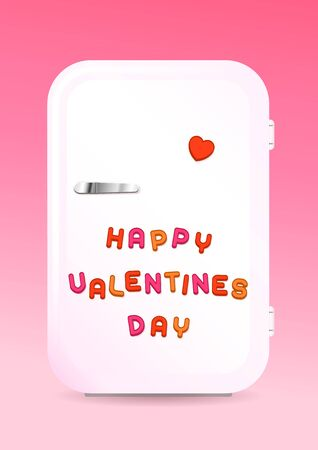 Retro fridge greeting card with HAPPY VALENTINES DAY sign of colored letter magnets on pink background, vector illustration