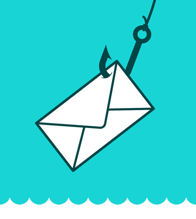 Phishing mail concept with an envelope caught on a fishing hook over a blue background and lapping water in a play on words, eps8 vector illustration Illustration